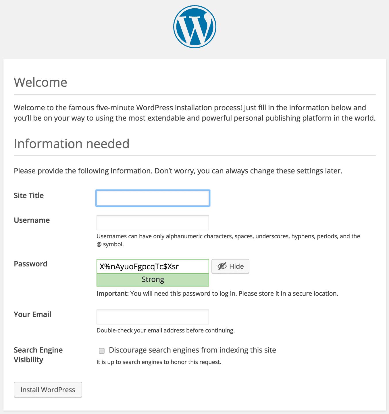 Installing WordPress Setup Admin Account