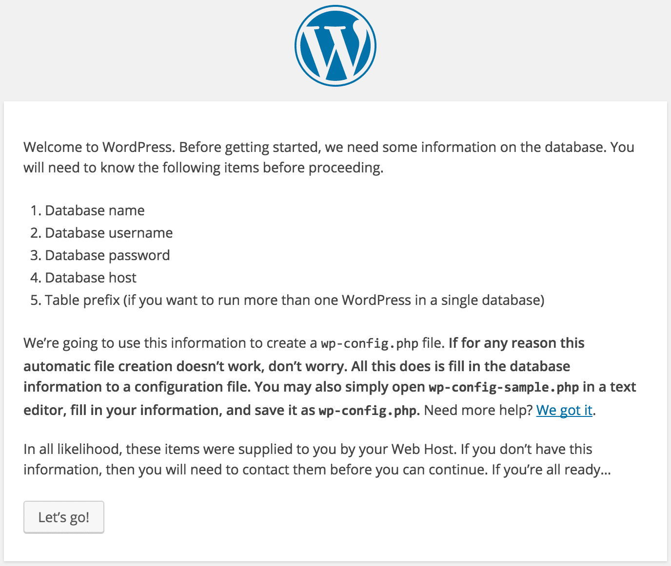 Installing WordPress Setup