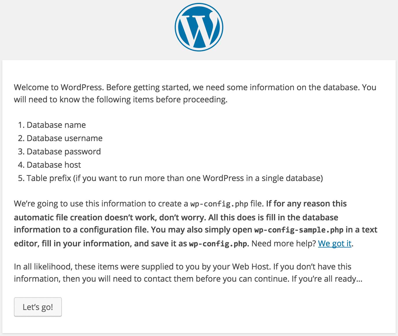 Installing WordPress Setup