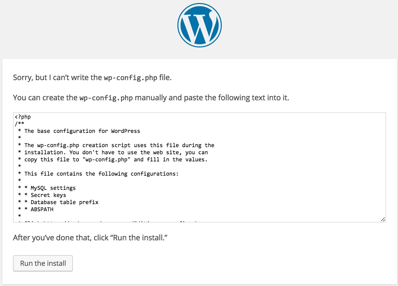 WordPress Config setup config