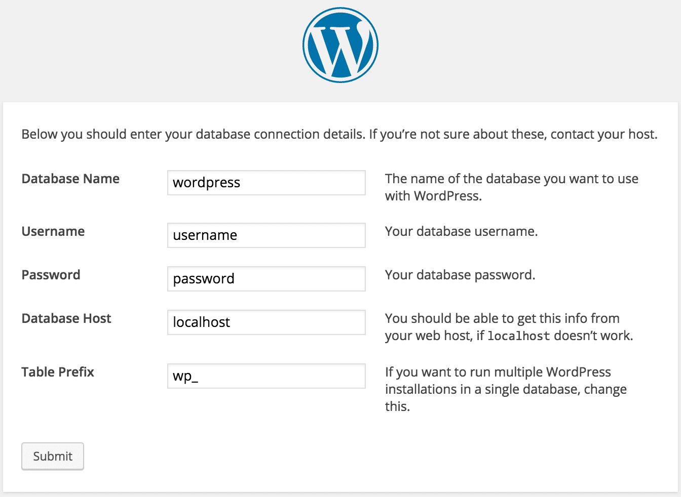 Installing WordPress Setup Database