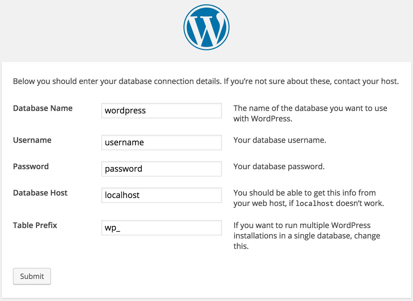 Installing WordPress Setup Database