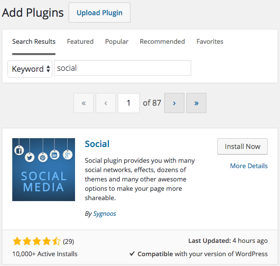 WordPress Plugins search