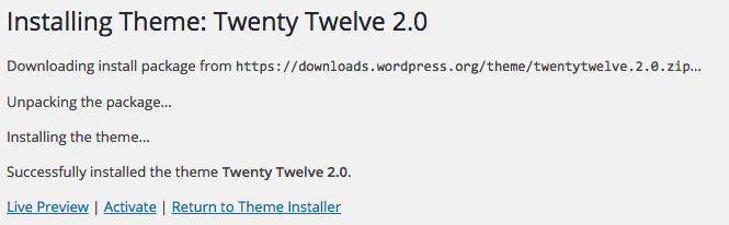WordPress Themes install status window