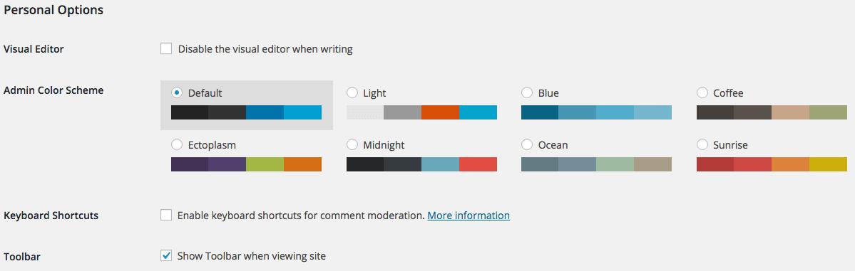 WordPress Accounts Profile Option settings