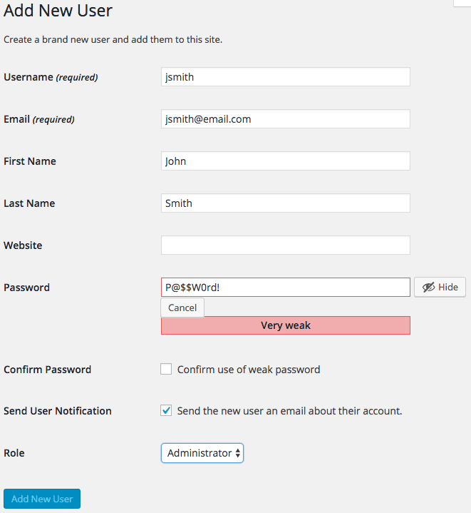 WP Create Accounts Add New User Values