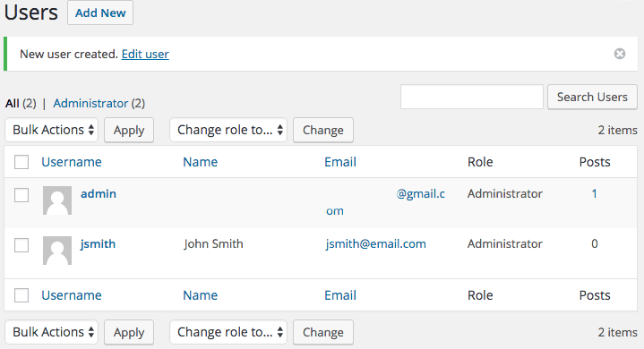 WP Create Accounts User Dashboard with new account added
