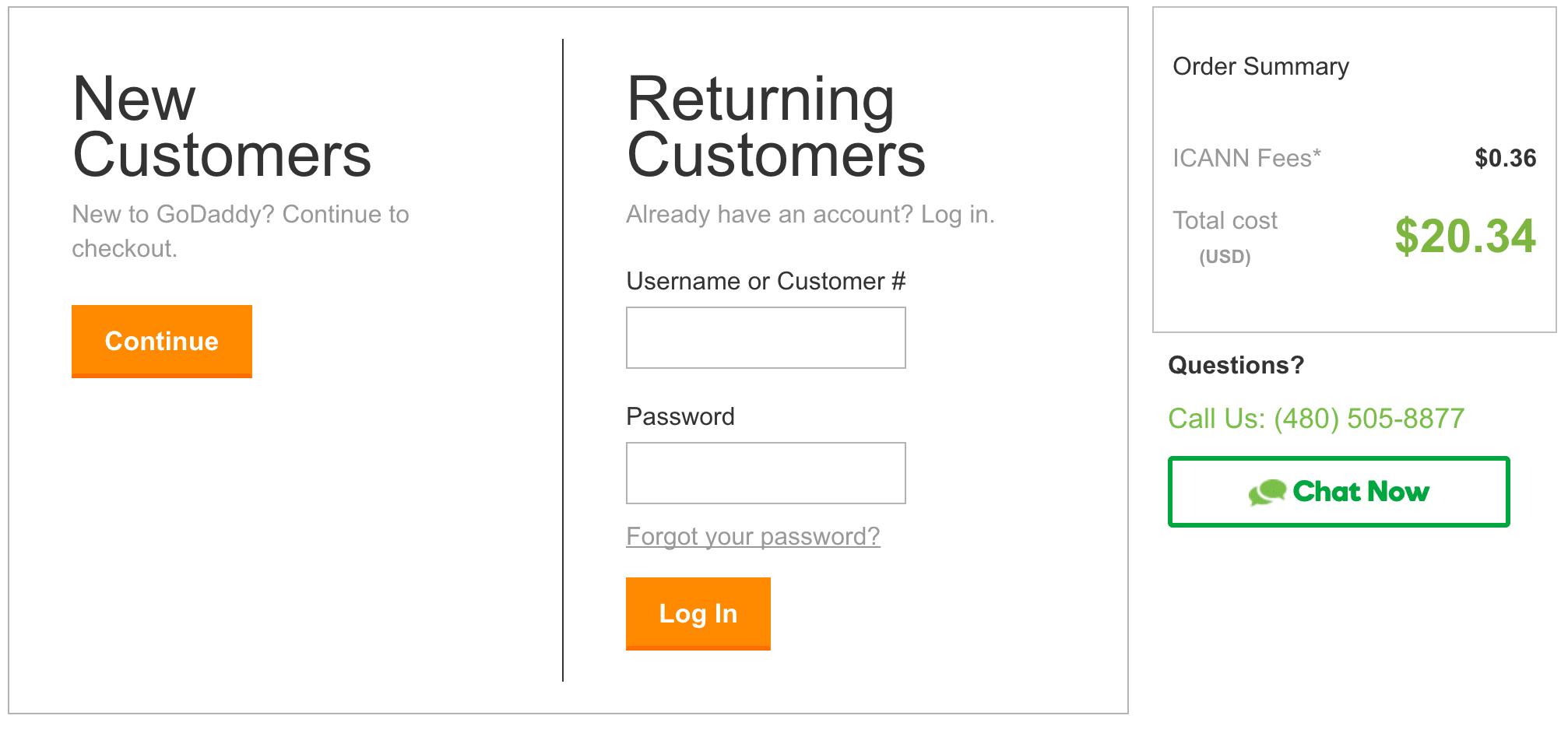 godaddy domain login screen