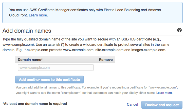 AWS Certificate Manager Add Domain Names