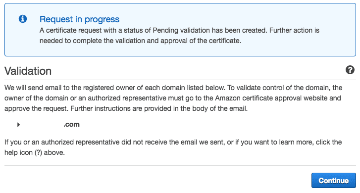 AWS Certificate Manager Validation