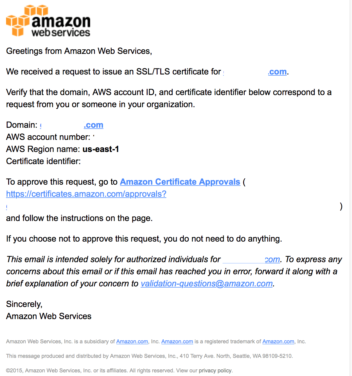 AWS Certificate Manager Email