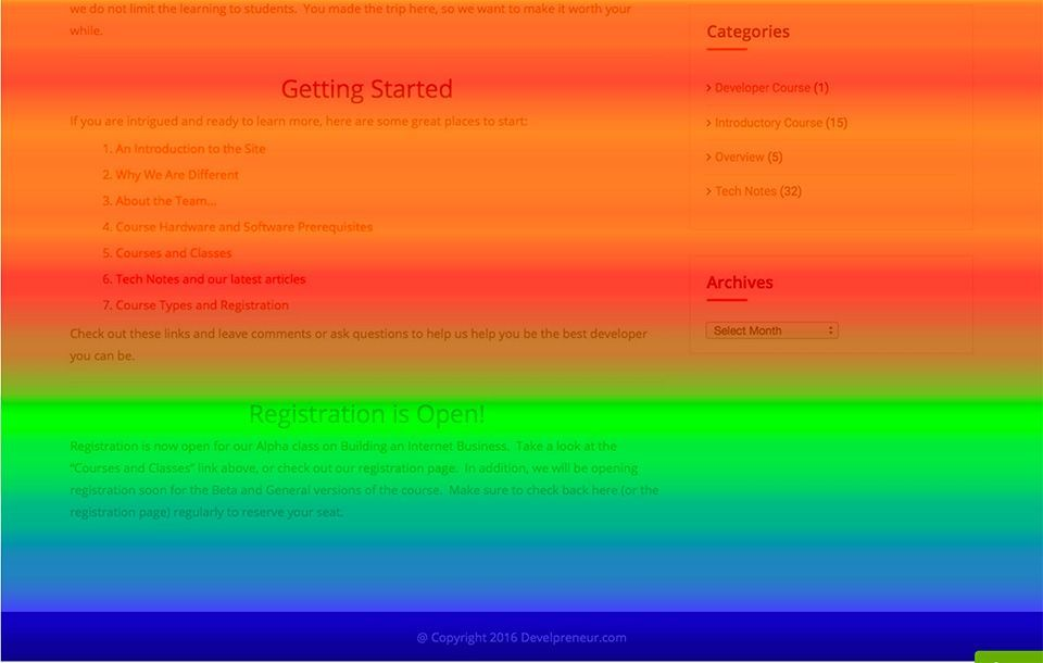 CrazyEgg scrollmap bottom of a page
