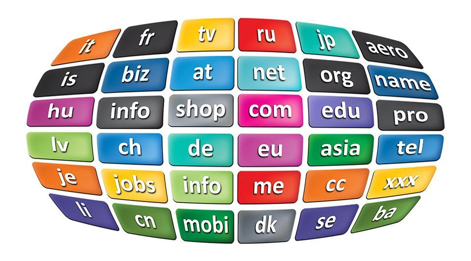 A grid of example domain names