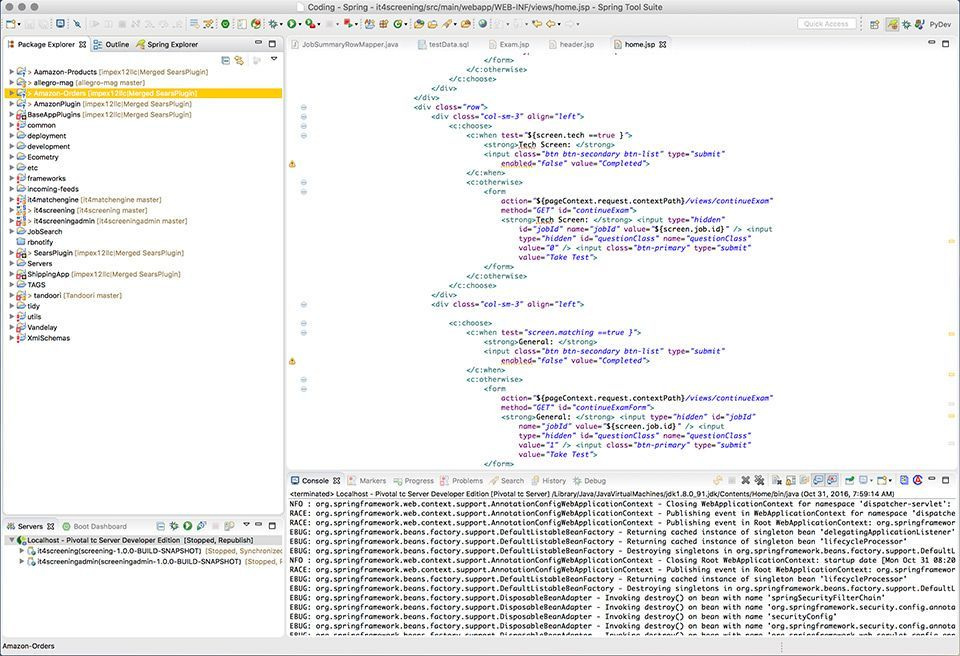 Screen shot from eclipse IDE